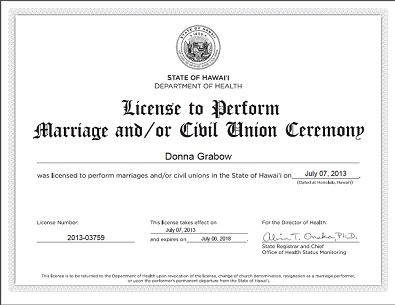 License To Perform Marriage Donna Grabow